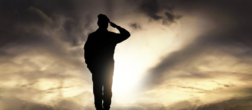 Soldier salute at sunset
