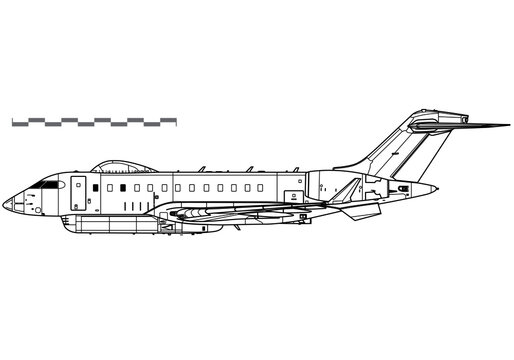 Raytheon Sentinel R1 ASTOR. Vector drawing of reconnaissance aircraft. Side view. Image for illustration and infographics.