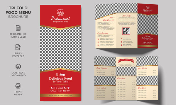 Vector Tri-fold Food Menu Brochure Template