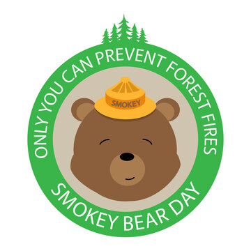 Only you can prevent forest fires concept, banner, poster, card. Smokey Bear Day holiday vector illustration.