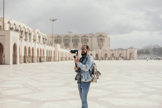 Male tourist at Hasan II mosque