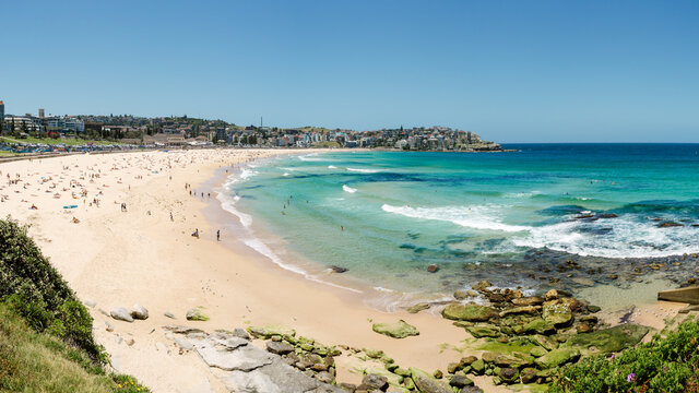 Panorama of Bondi Beach in summer
