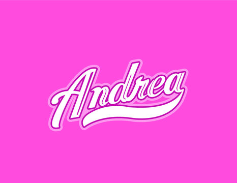 """First name """"Andrea"""" designed in athletic script with pink background. Great for personalization of Breast Cancer Awareness gear and accessories."""