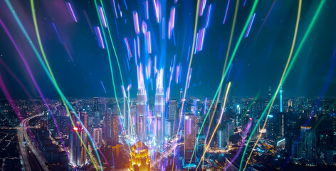 Abstract colorful luminous light emitted from the city.