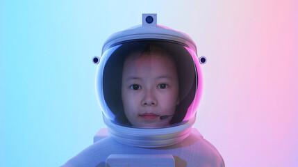 Adorable little cute girl Astronaut