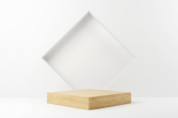 Abstract minimal scene with geometric forms. Wood cube podium stage in white background. for show product cosmetic presentation, mock up, 3d render.