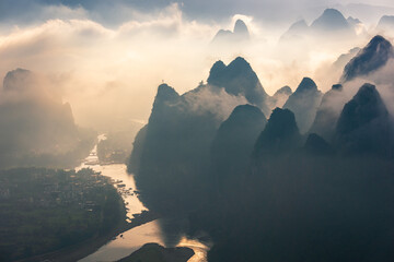 Door stickers Guilin China's natural landscape, cloudy peaks, abstract natural background images.