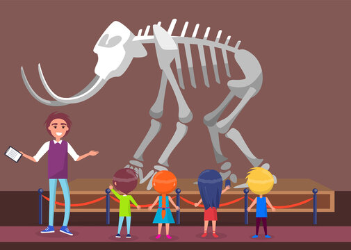 History museum excursion for kids vector, teacher with notes talking about mastodon skeleton. Remains of mammoth with tusks, tutor and students, back to school concept. Flat cartoon exhibition