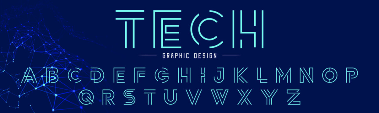 Creative abstract modern digital line fonts. Minimalist slim typography technology font style. Vector illustration and tech logo.