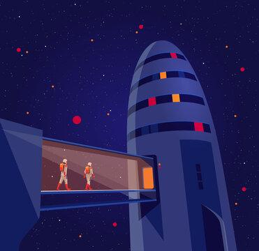 Astronauts passengers crew entering boarding space starship rocket vehicle on launchpad shuttle departure flight on moon mars to earth. Cosmos futuristic lunar orbit exploration mission night start.