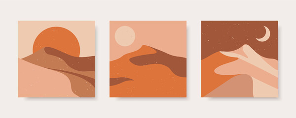 Set of abstract contemporary backgrounds in earth colors. Desert landscape in boho style. Concept vector templates for social media, websites, poster, cover.