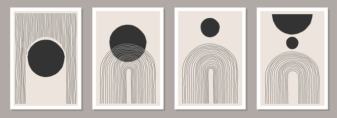 Trendy set abstracte creatieve minimale artistieke handgetekende composities