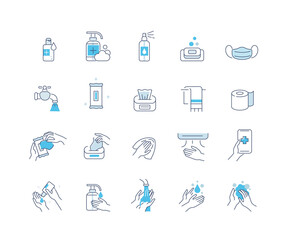 Hygiene Icons Set. Soap, Antiseptic Gel, Cleaning Tissues, Medical Mask and other Hygienic Products. Washing Hand with Soap. Cleaning Products Signs Collection. Flat Line Cartoon Vector Illustration.