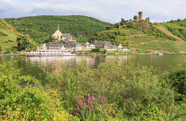Scenic view on the Mosel village Beilstein with Metternich castle