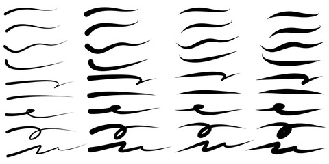 set of hand drawn vector underline, highlighter marker strokes, swoops, waves brush marks abstract doodle set for your design