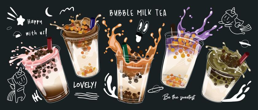 Bubble milk tea design collection,Pearl milk tea , Boba milk tea, Yummy drinks, coffees with doodle style banner,  Vector illustration.