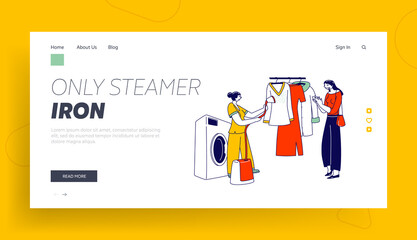 Laundry Staff Steam Garment on Hanger at Public Laundrette Landing Page Template. Female Character Use Steamer Iron