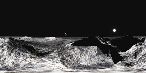 Moon surface, HDRI, environment map , Round panorama, spherical panorama, equidistant projection, panorama 360, 3D rendering