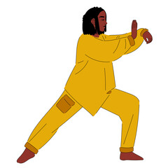 African-American girl practices Tai chi, Qigong concept. Calmness and relax, woman happiness. Flat design cartoon character. Isolated on white