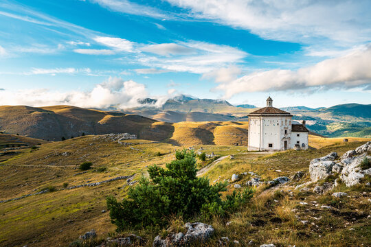 Isolated church in Gran Sasso National Park, Abruzzo, Italy