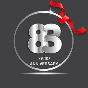 83 years anniversary logotype design with red ribbon, Vector template for celebration company event, greeting card, and invitation card