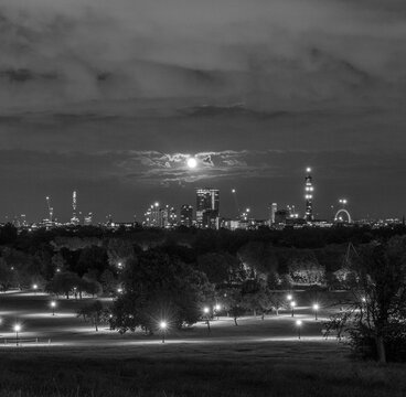 Moonrise over London from Primrose Hill