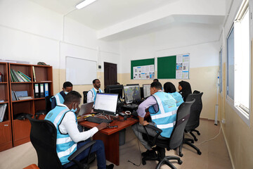 Somali analysts monitor the weather patterns at the early warning centre, in Mogadishu
