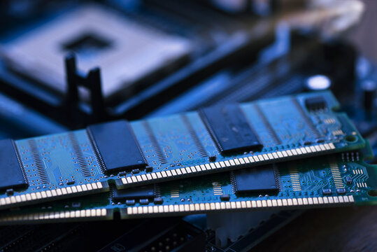 Pair of computer Memory RAM placed on mainboard or motherboard