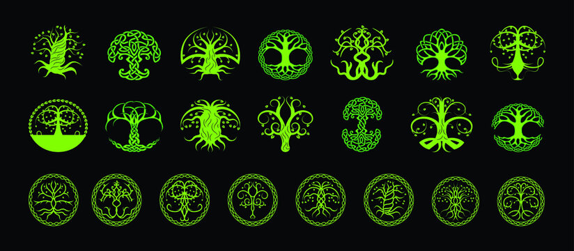 set of tree with roots in various models design template for logo and more isolated on blue