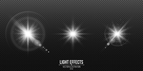 Wall Mural - Set of shining stars. Light effects isolated on a black transparent background. White glare and flare. Lens effect. Abstract lights bokeh and glowing particles. Vector illustration.