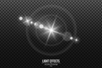 Wall Mural - Lens effect isolated on a black transparent background. White glare and flare. Abstract lights bokeh. Realistic star footage. Vector illustration.
