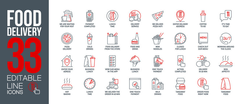 icons set online order and food delivery service for mobile app. meal and drinks express delivery banner isolated on white. outline app symbols fast food. Quality design elements with editable Stroke
