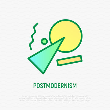 Postmodernism thin line icon. Style of art, which develops self-conscious use of things. Reusing, improvement. Vector illustration.
