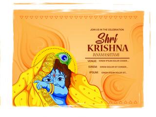 illustration of Lord Krishna playing flute on Happy Janmashtami holiday Indian festival greeting background