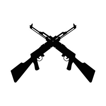 rifles weapons crossed silhouettes isolated icons