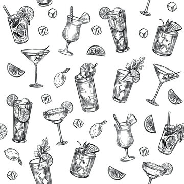 Seamless pattern. Alcohol cocktails. Background. Martini, mojito, pina colada, margarita. Vector outline.