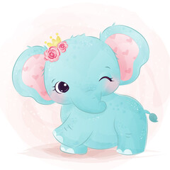Adorable baby elephant illustration in watercolor. cute animal illustration, animal clip-art, baby shower decoration, watercolor illustration.