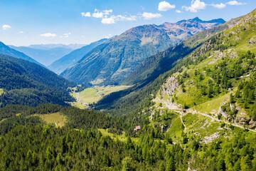 Grosina Valley, Valtellina, aerial view from the Verva pass towards Eita