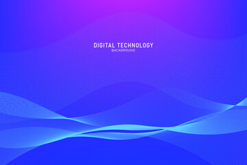 Fototapeta Abstract flowing dot line digital technology, smooth particle wave, big data techno, design concept background and wallpaper, vector eps