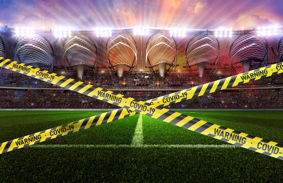 Soccer football event cancellation: sport stadium field, crowded football soccer arena tribunes, covid-19 pandemic warning tapes. Coronavirus impact sport events, championships, concerts 3D background