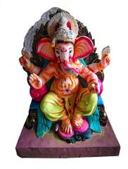 Isolated idol of God Ganesha/Lord Ganesh from eco friendly clay before the Hindu festival Ganesh Chaturthi also known as Vinayaka Chaturthi in Arambol? GOA, India