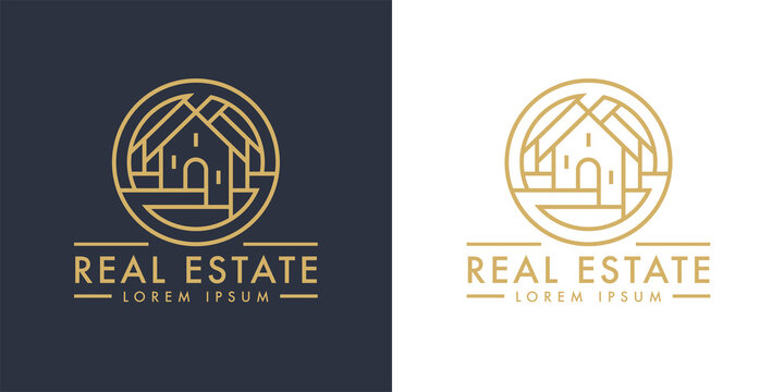 Real estate home logo line icon. Modern luxury villa house sign. Gold residential property development symbol. Concept realty agency housing company emblem. Vector illustration.