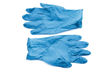 Covid-19 disposable contaminated gloves. Coronavirus latex plastic rubbish