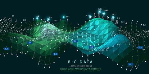 Big data. Abstract visualization polygonal algorithm analyze data. Quantum virtual cryptography concept. Blockchain. Analytics algorithms data.  Banner for bussines, science and techology. Papier Peint