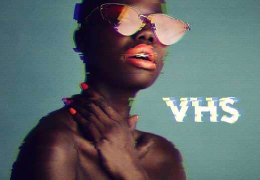 Retro VHS Glitch Photo Effect Mockup
