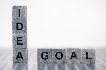 idea and goal printed on stones