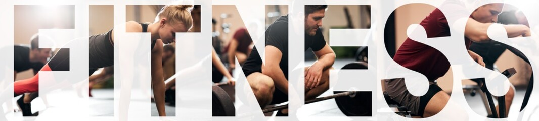 Collage of fit young people working out in a gym