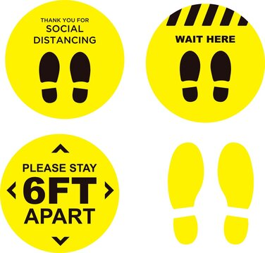 Covid Floor Decals Stickers Markers Distance