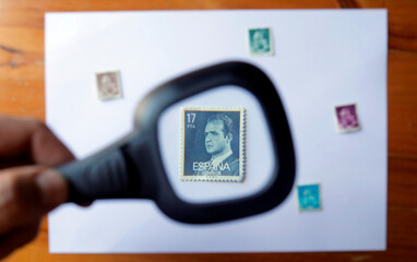 Postage stamp featuring the Spain's former King Juan Carlos I is seen in this illustration picture