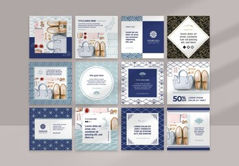 Social Media Layouts with Blue Geometric Asian Style Patterns